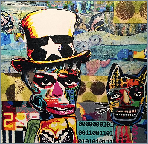 Sammy and Mr Buzz original collage with hand painted embellishments by Joey Mars