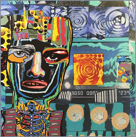 Mozaic Prozaic original collage on wood panel by Joey Mars