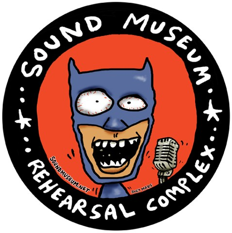 Sound Museum promo sticker design.