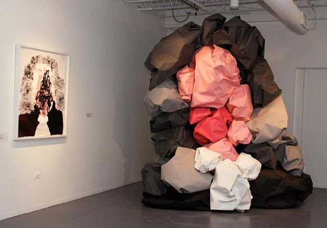 Bust of John Law Print and crushed paper sculpture (collaboration with Jose Lerma)