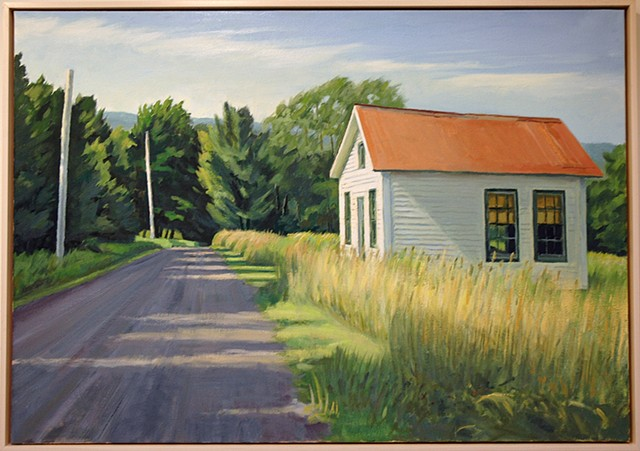 Oil painting of one room school house in Bovina, NY by Richard Kirk Mills