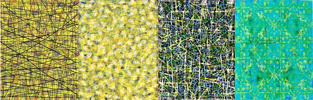 green, cheerful, yellow, mixed media, acrylic paint, decorative, complex