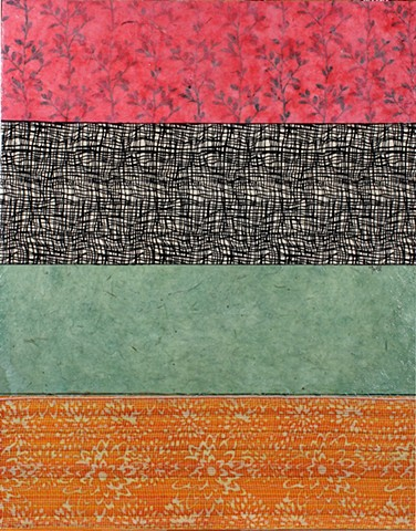 paper, greens, red, black & white, orange, cheerful, colorful, pattern, contemporary