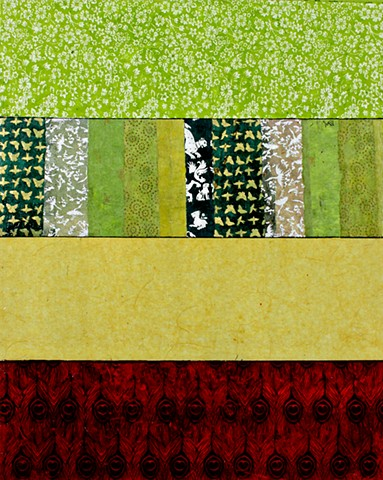 paper, greens, yellow, burgundy, cheerful, colorful, pattern, contemporary