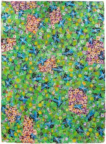 green, pink, metallic, fine detail, fun, playful, cheerful, collage, colorful
