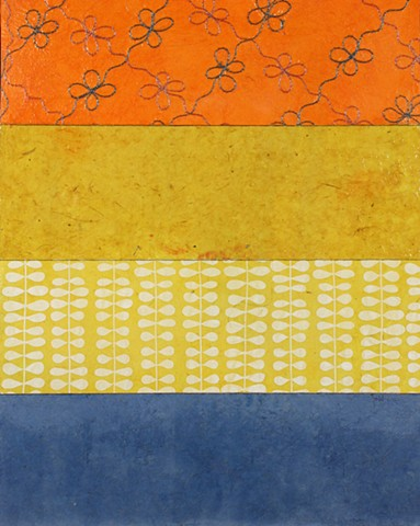 mixed media, acrylic, collage, works on paper, colorful, cheerful, contemporary, minimal, dramatic, orange, yellow, white, blue