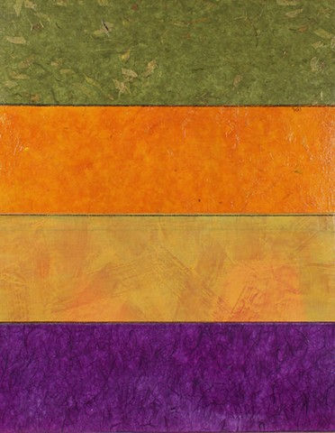 mixed media, acrylic, collage, works on paper, colorful, cheerful, contemporary, minimal, dramatic, orange, gold, purple, texture, green