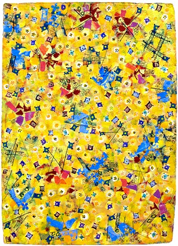 yellow, blue, fine detail, fun, playful, cheerful, collage, colorful