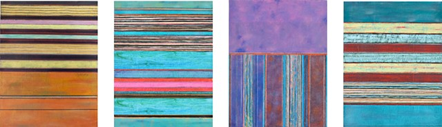 quartet, group, series, paper, stripes, multicolor, purple,