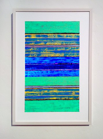 canvas, collage, mixed media, vibrant, stripes, blue, yellow, abstract, minimal,