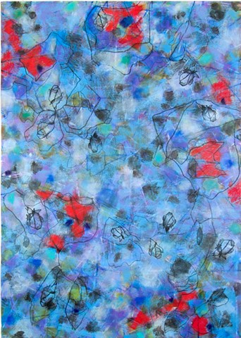 Flowers, blossoms, buds, line, blue, red, works on paper, etching paper, colorful, cheerful