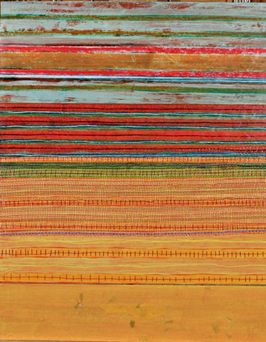 mixed media, acrylic, collage, works on paper, colorful, cheerful, contemporary, minimal, dramatic, orange, red, greens, pattern