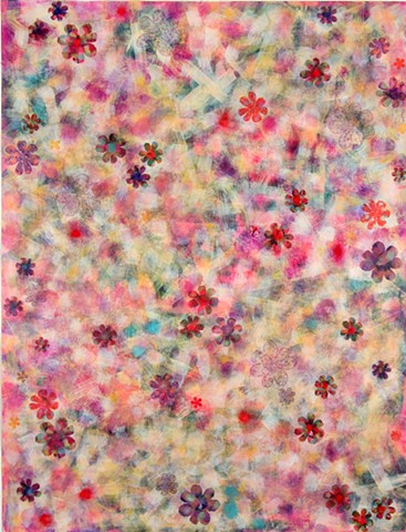 Pale, flowery, acrylic skins, mixed media, soft, feminine, lovely, pink, red, yellow