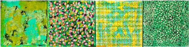 green, black, blue, yellow, on paper, board, contemporary, pattern, cheerful, colorful