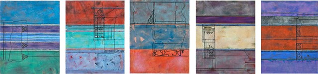 on paper, collage, line, acrylic skins, French ironwork, blue, red