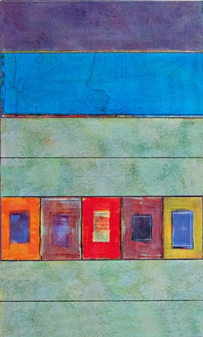 blue, green, multicolor, rich color, nuanced, collage, works on paper