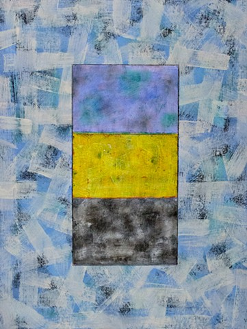 blue, yellow, black, brushstroke, abstract, contemporary, collage, acrylic