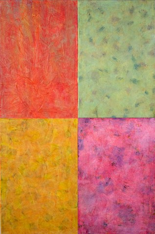 red, green, gold, hot pink, intense color, vibrant, collage, abstract, cheerful, joyful, colorful, contemporary, modern,