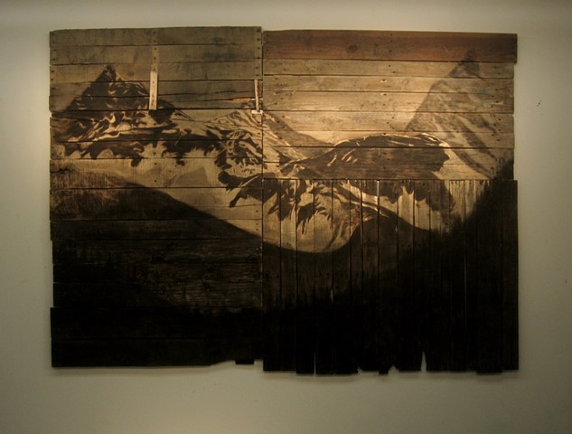 outpost, landscape, woodcut and burned wood
