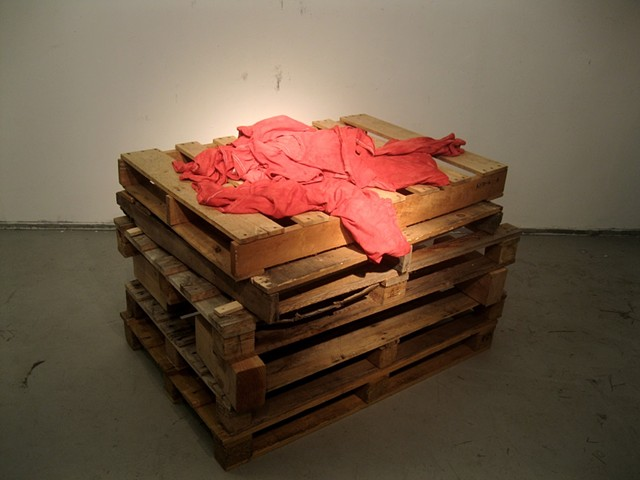 cenotaph, recycled pallet art, dyed red shirts