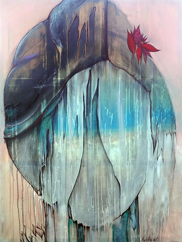 abstract portrait of woman with red flower,  ocean landscape, whimsical art, acrylic painting
