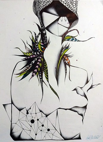 Black and white surreal geometric drawing of woman with bird feathers
