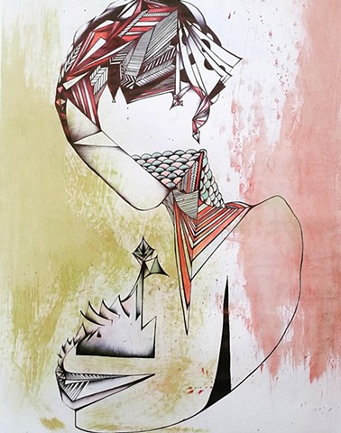 abstract drawing of geometric woman