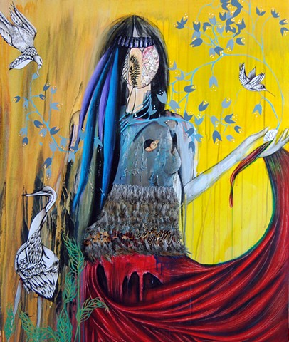 Modern painting, pheasant feather art, woman with birds, South Dakota art