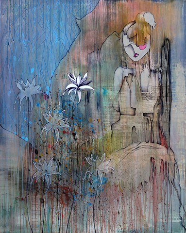 expressionist painting, puppet, Woman with Flowers, marionette art