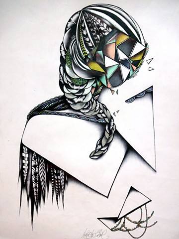 abstract geometric drawing of woman with braided hair and bird feathers