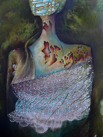 Original Painting, abstract portrait of woman, Modern Art, Lace, Blue Sky