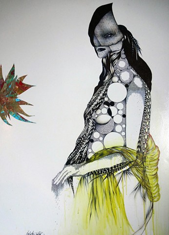black and white drawing of a woman, woman with colorful flower, pen and ink art, surreal art