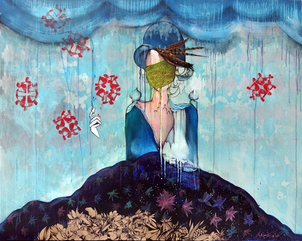 surealism, modern art, snowflakes, flowers, pheasant feather art, painting of woman with flowers
