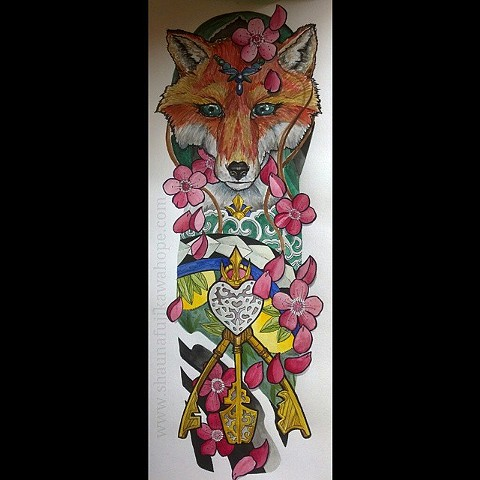 All Rights Reserved By Shauna Fujikawa Hope Tattoos & Art - Kitsune Fox Keys