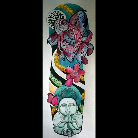 All Rights Reserved By Shauna Fujikawa Hope Tattoos & Art - Ryukin Goldfish Buddha