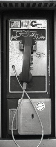 black and white new york city payphone