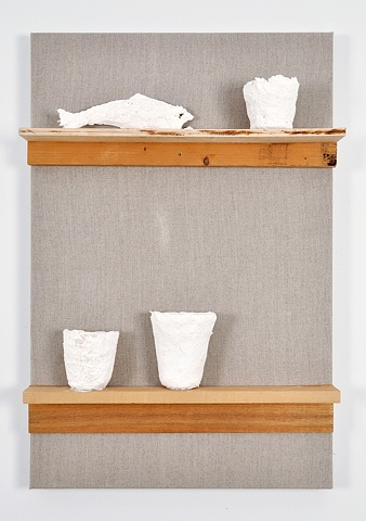 Shelf with Cups and Fish