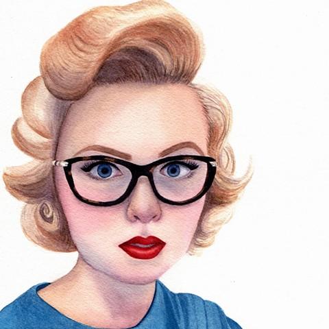 Modern vintage inspired watercolor female portrait by Rebecca Krusinski