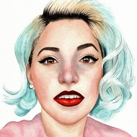 Modern vintage inspired watercolor female portrait of Kenley Collins by Rebecca Krusinski
