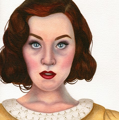 Modern vintage inspired watercolor female portrait by Rebecca Krusinski