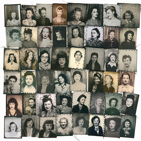 Vintage photo booth portraits sewn together with thread print