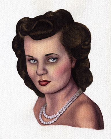 1940's Vintage watercolor female portrait by Rebecca Krusinski