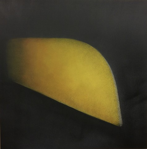abstract, yellow canoe, abstract yellow and grey painting