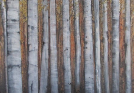 grove,aspen,silver birch,forest painting