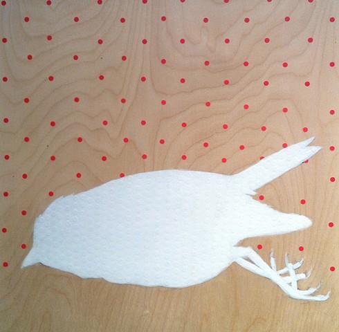 white bird, dots, dead bird, bird painting