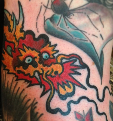 Red Dragon Head Tattoo by Greg Christian