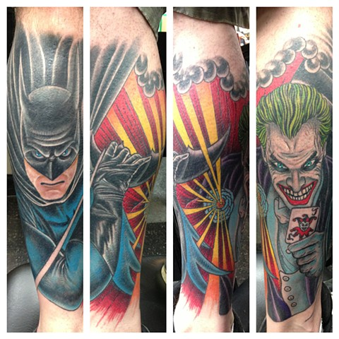 Batman & Joker Tattoo by Dan Wulff