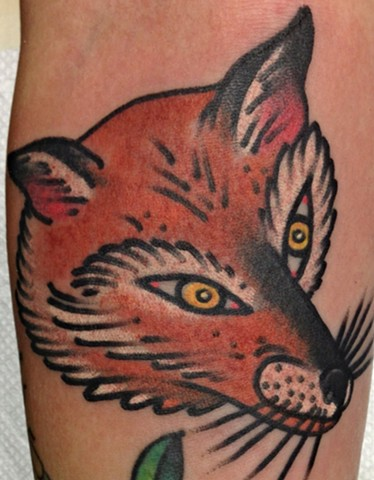 Fox Head Tattoo by Greg Christian