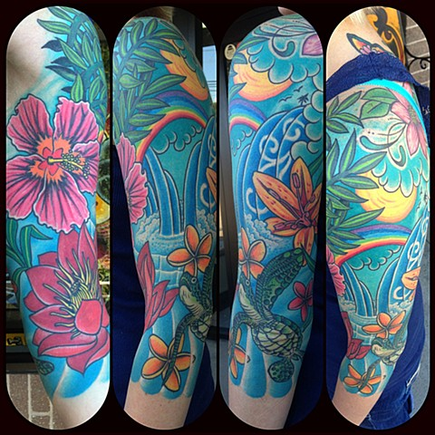 Tropical Sleeve Tattoo by Dan Wulff