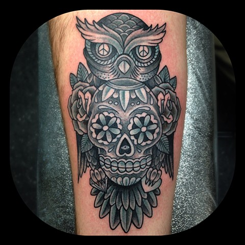 Sugarskull Owl Tattoo by Dan Wulff